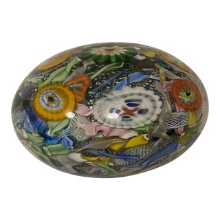"Millefiore ""End of Day"" Murano Glass Paperweight For Sale"