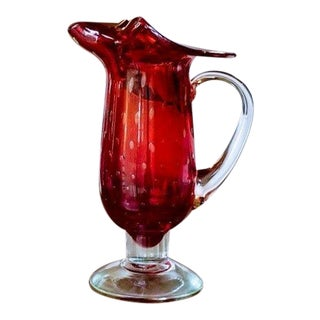 Murano Style Mid Century Modern Hand Blown Glass Pitcher Vase For Sale
