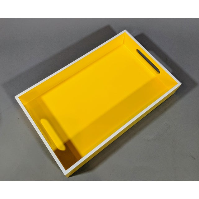 Yellow and White Lacquered Tray For Sale - Image 9 of 10