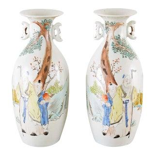 Chinese Porcelain Fencai Vases - a Pair For Sale