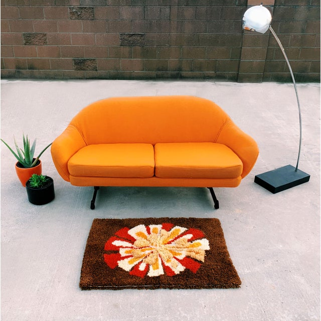 Orange Mid-Century Mod Viko Baumritter Biomorphic Free Form Tangerine Orange Couch For Sale - Image 8 of 9