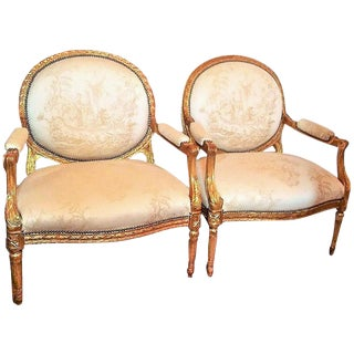 Wide Louis XVI Style Armchairs Chinoiserie Upholstered - A Pair