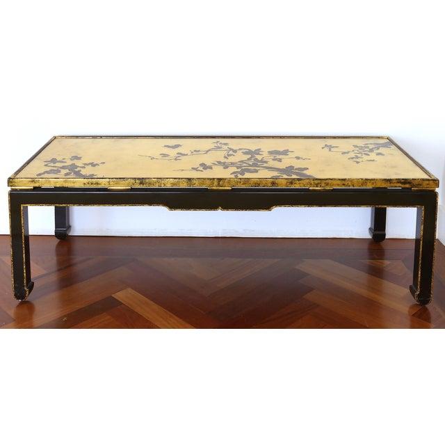 Vintage Mid Century Japanese Gold Leaf Cherry Blossom Coffee Table