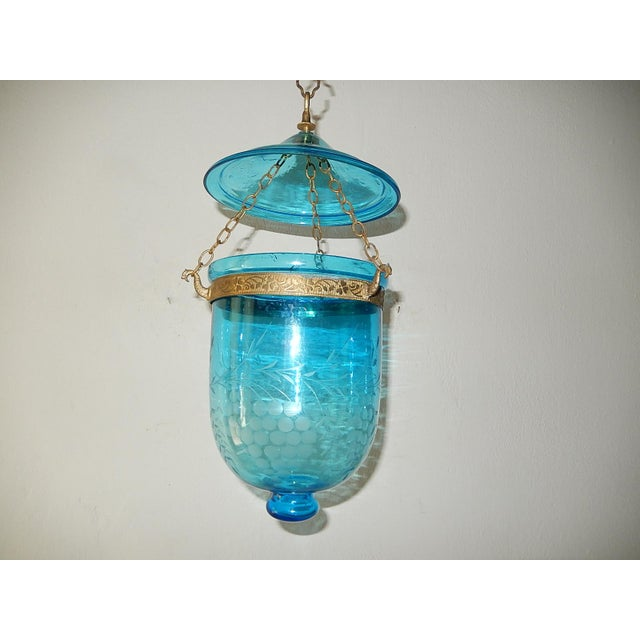 Rare cobalt color. This is 1 of 2 of matching bell jars. This one has a crack on lid and chips on lip. Price reflects...