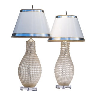 Vintage Qulited Gold Fleck Murano Lamps -A Similar Pair For Sale