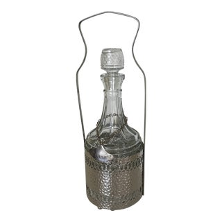 Vintage Pressed Glass Decanter in Silver Plated Caddie With Handle For Sale