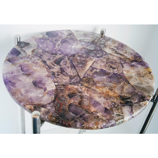Lavender Amethyst & Chrome Side Table - Image 6 of 9