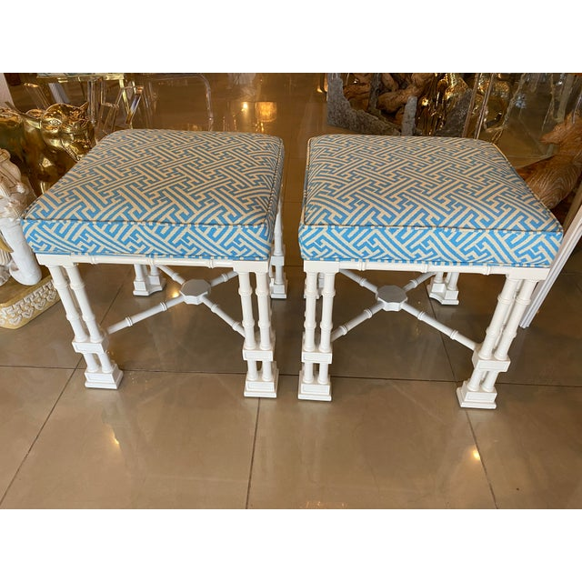 Vintage Palm Beach Faux Bamboo Blue & White Lacquered Greek Key Upholstered Benches Stools -A Pair For Sale - Image 12 of 13