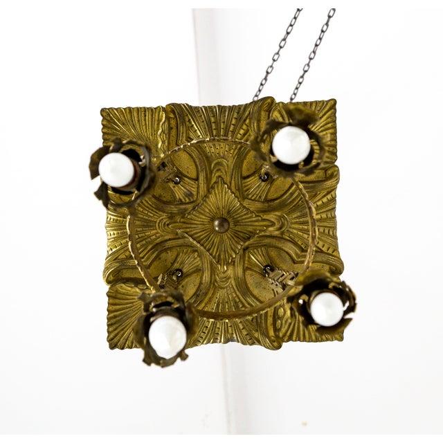 Metal Vienna Secession Nouveau Brass Chandelier W/ Square Chain & Foliage For Sale - Image 7 of 13