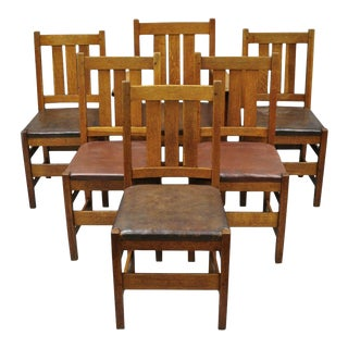 1900s Vintage L & Jg Stickley Oak Mission Arts & Crafts Dining Chairs- Set of 6 For Sale