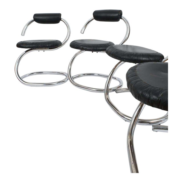 Set of Four Italian Leather Chrome Spiral Chairs by Stoppino For Sale