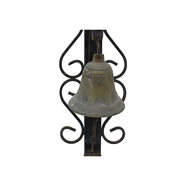Antique wrought iron and bronze bell from a shop in Paris. No maker's mark. Pre-drilled hole for mounting; hanging...