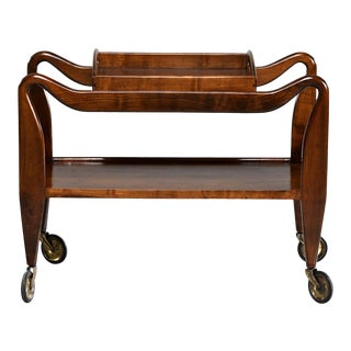 Italian Mid Century Walnut Trolley Table With Removable Tray For Sale