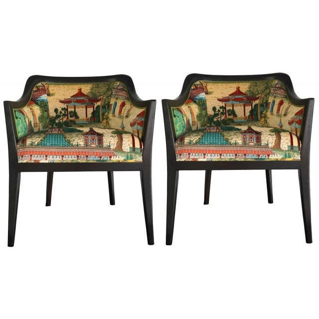 Vintage Chinoiserie Side Chairs - Pair - Image 1 of 3