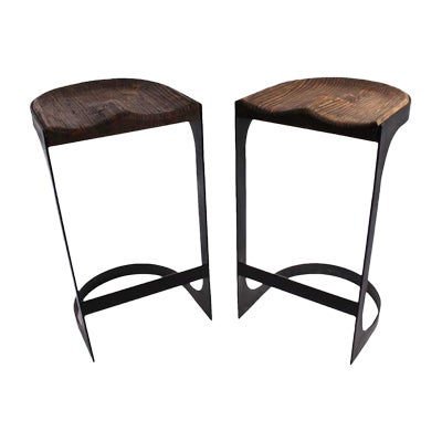 Rustic Wood and Iron Bar Stools - A Pair - Image 1 of 4
