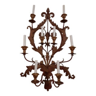 Large Antique Wall Sconce in Metal European Baroque Style For Sale