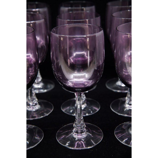 "Fostoria Fostoria Mid-Century Modern ""Fascination"" Amethyst Wine Glasses - Set of 12 For Sale - Image 4 of 9"