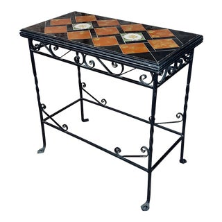1940s Spanish Wrought Iron & Tile Side Table For Sale
