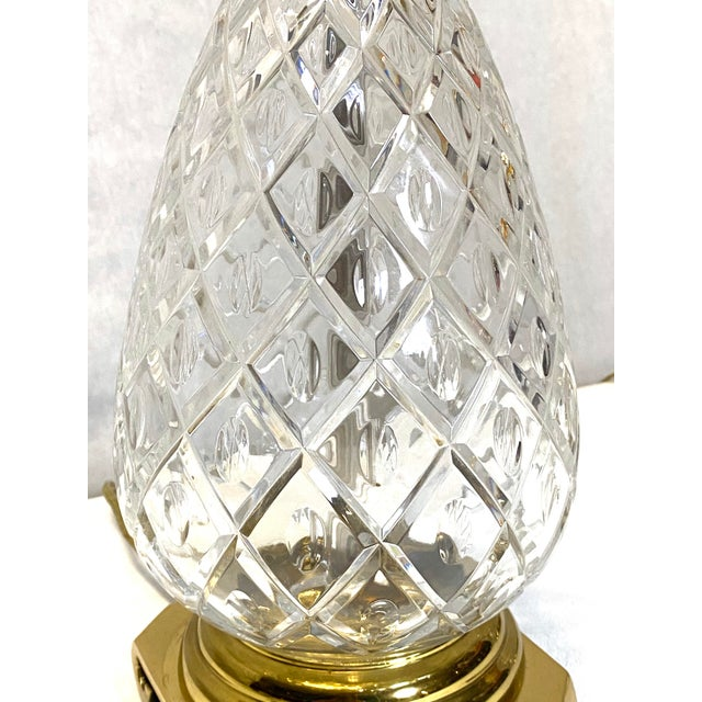 Metal Fabulous Vintage Wildwood Crystal Brass Pineapple Table Lamps - a Pair For Sale - Image 7 of 9