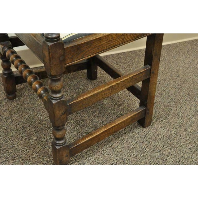 1930s Vintage Carved Oak Wood Jacobean Gothic Style Dining Room Chairs Set Of 8