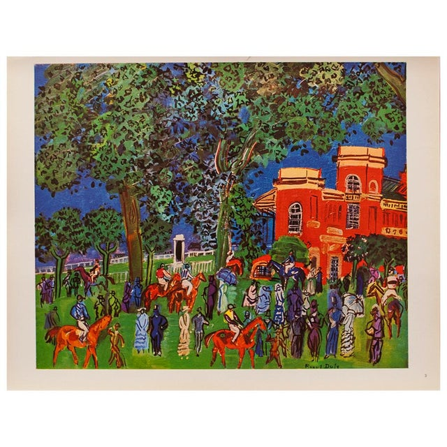 1940s 1940s Raoul Dufy Paddock Original Period Swiss Lithograph For Sale - Image 5 of 6