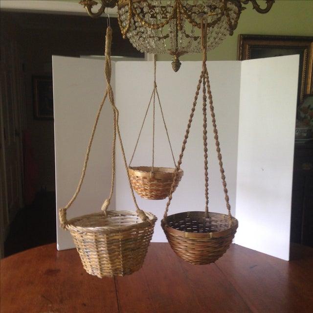 Vintage Hanging Wicker Baskets - Set of 3 - Image 3 of 11