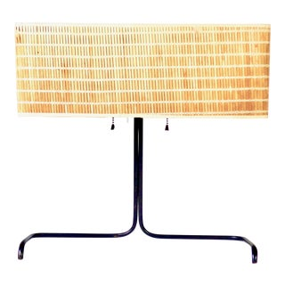Rare Gerald Thurston Table Lamp With Original Woven Bamboo Shade.RARE For Sale