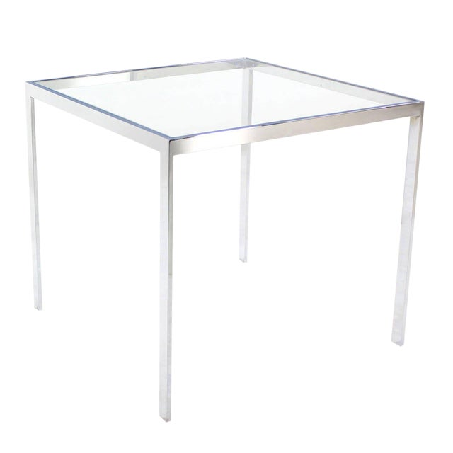 Mid Century Modern Square Chrome Glass Side Table Chairish