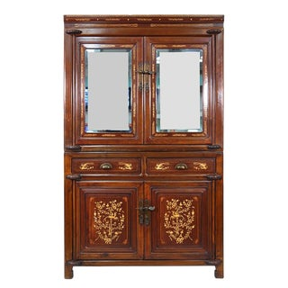 Chinese Antique Carved Bone Inlayed Stackable NingBo Armoire For Sale