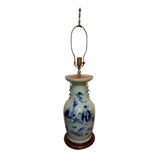 Antique Blue & White Chinese Vase as a Lamp For Sale