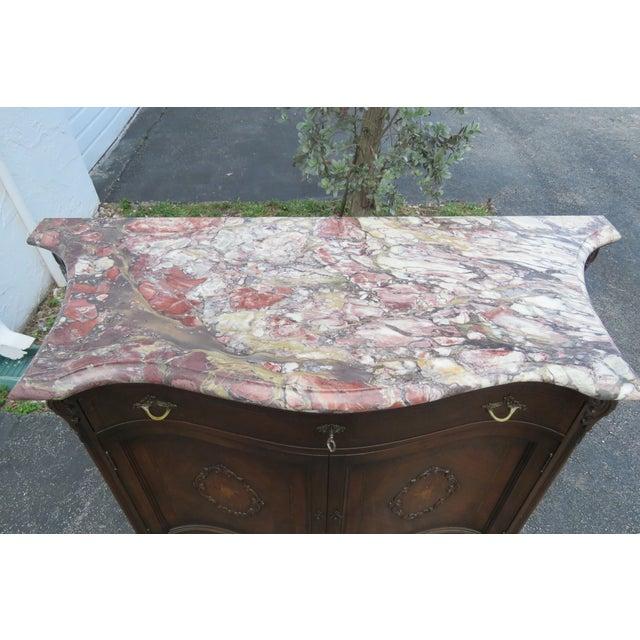 French Early 1900s Marble Top Commode Server Buffet Bathroom Vanity For Sale - Image 10 of 13
