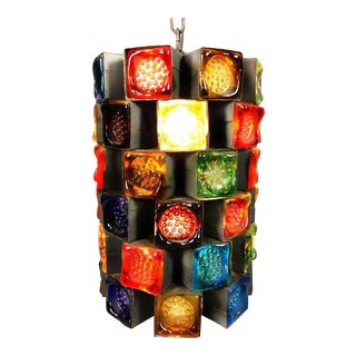 Mid Century Italian Brutalist Early Poliarte Forged Metal & Stained Glass Pendant Light Fixture For Sale