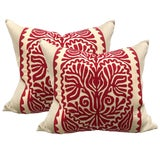 Image of Pair of Early 20th Century Hungarian Folk Art Pillows For Sale