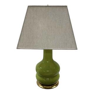 Christopher Spitzmiller Green Glazed & Gilt Lamp For Sale