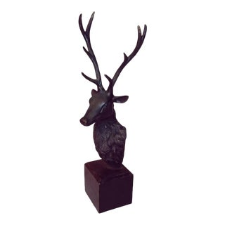 Early 20th Century Traditional Bronze Stag Head Sculpture