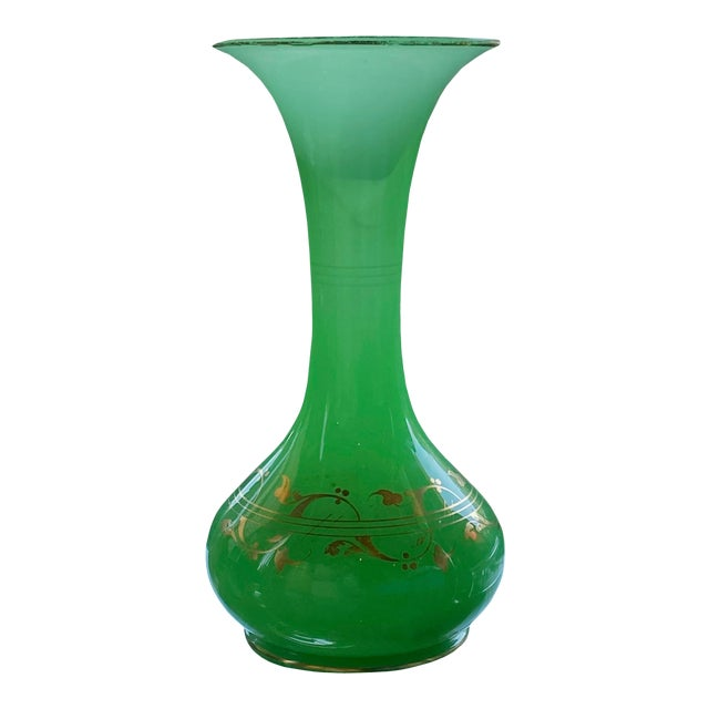 Antique French Green Opaline Glass Vase For Sale