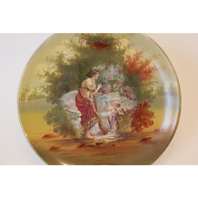 Empire Woman and Harp and Putti Pastoral Decorative Plate For Sale - Image 3 of 5