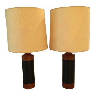 Danish Modern Teak and Leather Lamps - a Pair