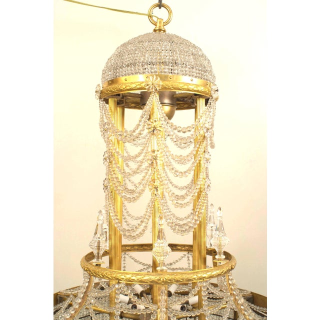 Louis XVI French Louis XVI Style Ormolu and Beaded Crystal Large Chandelier For Sale - Image 3 of 4