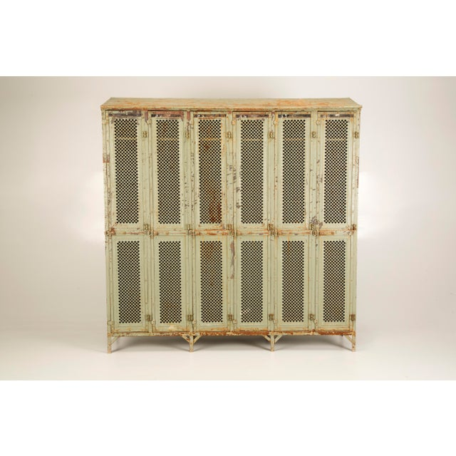 Antique French Industrial Original Painted Lockers For Sale - Image 11 of 12