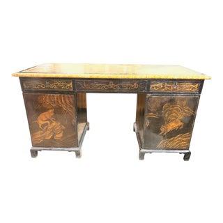 19th Century English Black Lacquered Coromandel Writing Desk For Sale