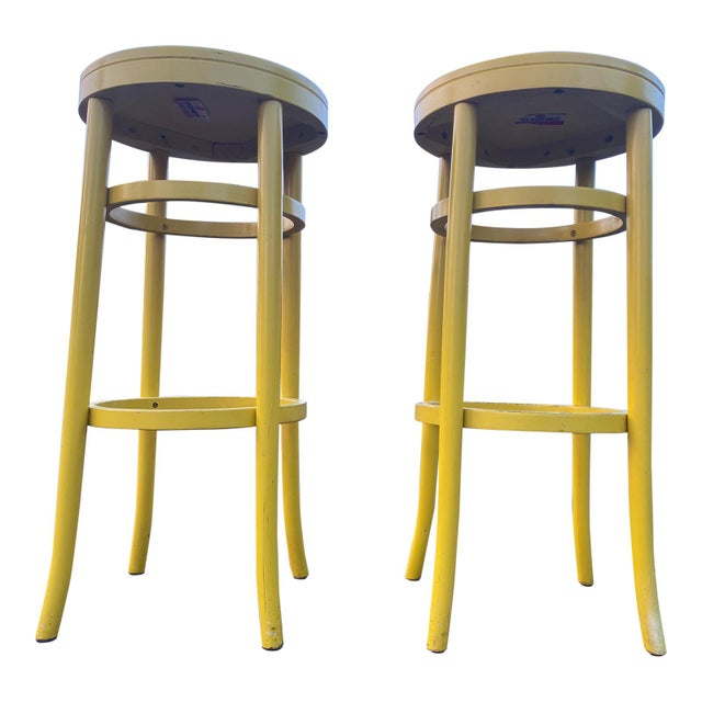 Mid-Century Modern 1970s Thonet Tall Yellow Bar Stools - a Pair For Sale - Image 3 of 8