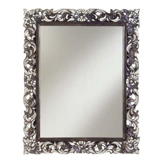 Transitional Rectangular Handcut Glass Mirror For Sale
