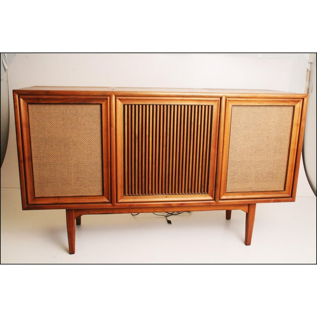 Brown Drexel Mid-Century Modern Record Console Credenza For Sale - Image 8 of 11