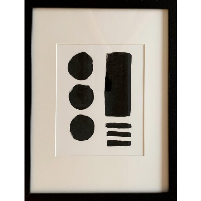 Abstract Original Geometric Black and White Framed Painting For Sale - Image 3 of 3