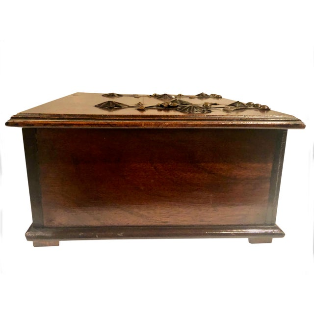 Brown Antique Turn of the Century German Walnut Box For Sale - Image 8 of 10