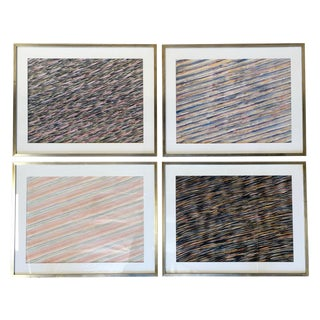 Abstract Texture Watercolor Paintings - Set of 4 For Sale