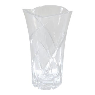 Large Vintage Daum French Crystal Vase For Sale