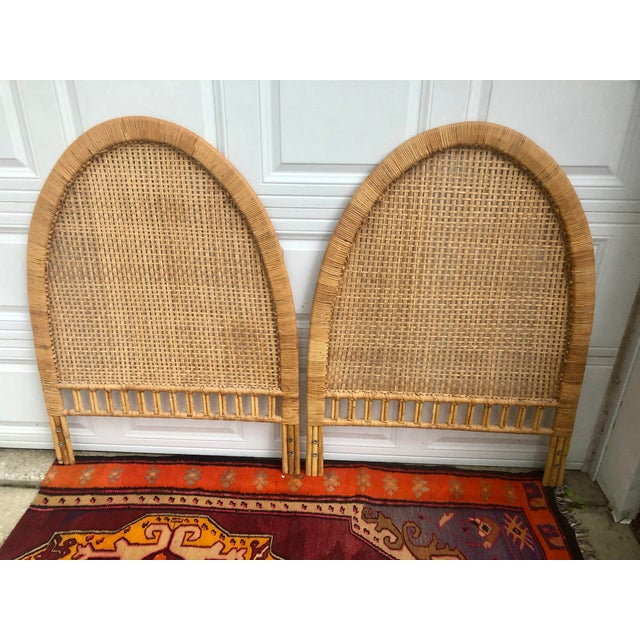 Vintage Mid-Century Arched Cane Bamboo Rattan Buri Twin Headboards - a Pair For Sale - Image 9 of 10