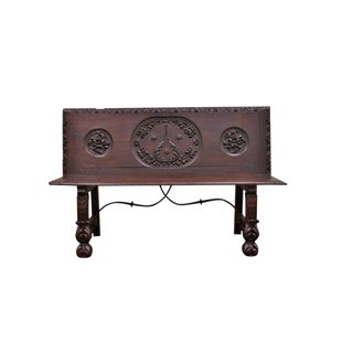 17th Century English Renaissance Carved Oak and Wrought Iron Bench For Sale
